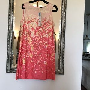 """Be"" cotton dress in coral and pale yellow"